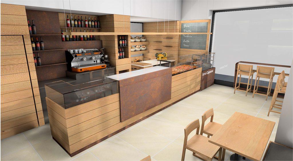 rendering bar pasticceria in legno